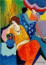 "ART DECO PRINT. ""Blue Mood"", by Itzchak Tarkay. Printed on A4 glossy photo paper"