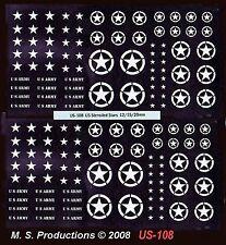 1/144 12mm 15mm 20mm FOW Decals US-108 US Stencilled Stars White AFVs