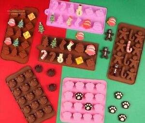 Christmas Chocolate Silicone Cake Mould  Santa Candy Cane Jelly Ice Cube Mold