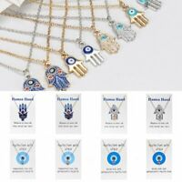 Lucky Evil Eye Hamsa Hand Initial Pendant Necklace Clavicle Chain Card Jewelry
