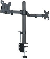 "Halter Dual LCD Monitor Stand desk clamp holds up to 27"" lcd monitors"