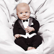 9a652ca9c Baby Boy Formal Tuexedo Suit Outfit Party Wedding Photo Props Romper Size  000 -2