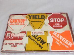 New Vtg Mid Century Absorbees Cardboard Drink Coasters Humorous Road Signs Motif