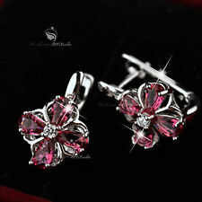 18k white gold gf made with SWAROVSKI crystal stud earrings dangle flower red