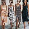 Women's Hobo Sling Dress Ladies Strappy Summer Beach Split Midi Sundress Holiday