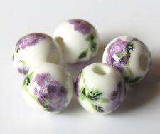 30pcs 8mm Round Porcelain/Ceramic Beads - White / Amethyst Roses