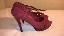 Women Shoes White House Black Market Suede Red Open Toe strap High Heel Size 8M