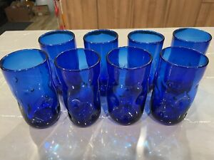 Set Of 8 Blenko Glass 418L Dimple Pinched Tumblers in Cobalt