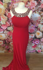 Gino Cerruti Long Scarlet Red Silver Beaded Prom Evening Gown Dress Size 14