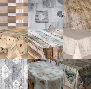 Modern Luxury Oak Rustic Effect Pvc Vinyl Table Cloth Wooden Look Printed Wipe