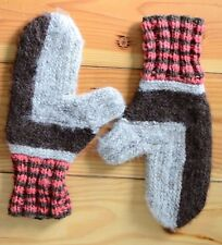 Handmade Wool Winter Knitted Gloves Mittens Made in USA Large Gray Pink