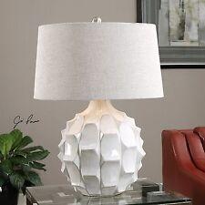"MODERN COASTAL DECOR 27"" SCALLOPED GLOSS WHITE CERAMIC TABLE LAMP LINEN SHADE"