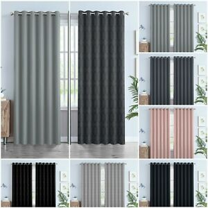 Thick Thermal Blackout Curtains Eyelet Ring Top Heavy Ready Made Pair +Tie Backs