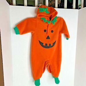 Happy Halloween Pumpkin Infant 6 9 Months Costume Dress Up Fleece 1 pc Bodysuit