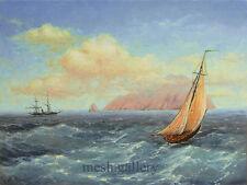ORIGINAL FRAMED OIL PAINTING SEASCAPE FINE ART Masterpiece Sail Boat Island