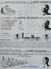 PUBLICITE LAMPE BERGER BRULE PARFUM LA NAISSANCE DE 1929 FRENCH AD PUB RARE