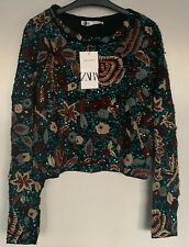 BNWT Zara Limited Edition Sequin Embroidered Sweater Jumper Size S