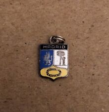 Vintage Madrid, Spain Travel Shield Enamel & Silver Charm