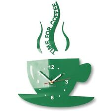 Modern Large Dark Green Wall Clock Home Decoration Kitchen Dining Room  Cup