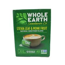 Whole Earth Stevia Leaf & Monk Fruit Packets 40 packets Expires 12/2020 0 Cals