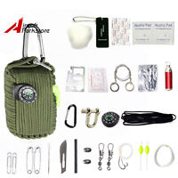 29 Tool Survival kit 550 Paracord Grenade EDC Outdoor Fishing Camping Olive Drab