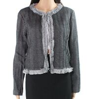Emme Women's Jacket Black Size Large L Frayed-Trim Zig-Zag Knit $175 #894