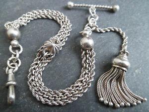 Victorian Solid Silver Albertina / Albert Pocket Watch Chain and Tassel Fob
