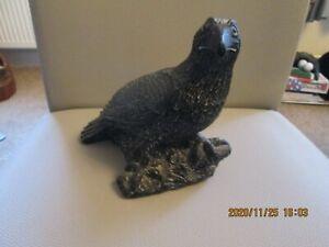 Vintage Inuit Eskimo Carved Black Stone Bird  Sculpture Aardvark 1972 Canada