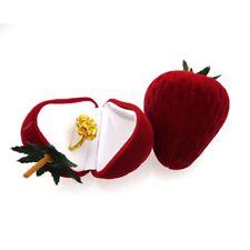 Stud Pendant Storage Ring Box Gift Case Jewelry Strawberry Flocking