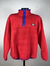 Men's Vintage Throwback LL Bean Red Four Button Fleece Jacket Large