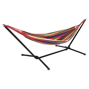 Hammock Garden Swing Camping Canvas Metal Stand Free Standing Patio Bed Outdoor