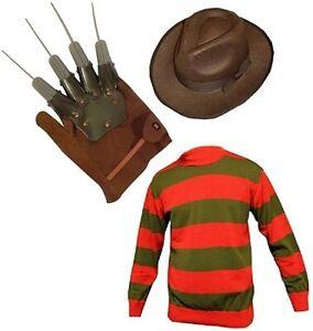 Unisex Kids Boys Freddy Halloween Fancy Dress Hat Jumper & Glove Set