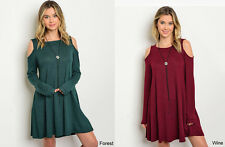 Solid Flowy Cold Shoulder Sweater Dress Swing Long Sleeve Tunic Burgundy Green