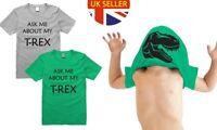 100% Cotton Kids ASK ME ABOUT MY T-REX Flip T-Shirt Monster Gift Dinosaur Tee