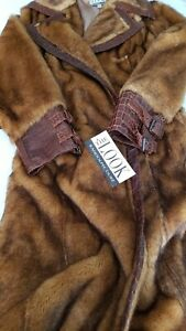 RANDOLPH DUKE FAUX FUR COAT LIGHT BROWN BELTED WITH FAUX TRIM LARGE NEW W TAGS