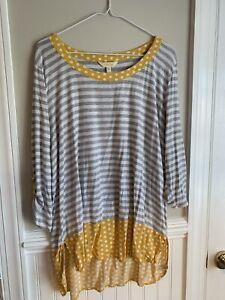 "Matilda Jane Oracle Top {Grey Stripe w/ Mustard Yellow Dot Trim} ""GUC"" Sz XL"
