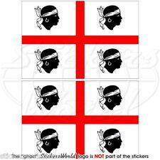 SARDAIGNE Drapeau SARDE ITALIE Vinyle Stickers Autocollant 75mm x2