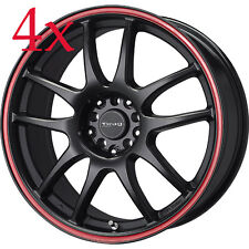 Drag Wheels DR-31 16x7 5x100 5x114 Flat Black w/ Red Stripe Rim For Matrix Jetta
