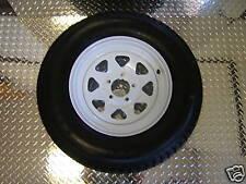 """15"""" 5 Lug Trailer Rim / LoadStar Tire Wheel Assembly White SPK 205/75D15  C ply"""