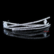 Wedding Bridal Prom Clear Crystal Crown Headband Tiara
