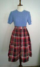 Vintage 1950s 60s School Girl Red Brown Plaid Skirt Sz S Full Summer Autumn