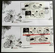 2008 Malaysia LAT Cartoons 4v Stamps & 5v Booklet Stamps on 2 FDC Melaka Cachet