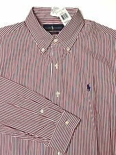 NWT Polo Ralph Lauren Men's Custom Fit Red/White Striped Cotton Casual Shirt M