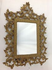Antique Rococo Victorian Mirror Picture Frame Gilt Brass Cast Metal Table 16""