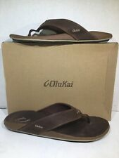 Olukai Mens Size 14 EU 47 Nui Rum Leather Causal Flip Flops Sandals ZD-573