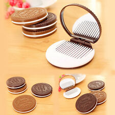 Portable Cute Chocolate Cookie Shape Cosmetic Makeup Mirror Comb Lady Girl