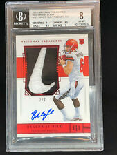 2018 National Treasures Baker Mayfield Auto Patch True RPA Nike Swoosh 2/2 BGS 8