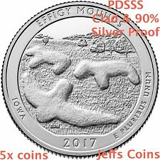 2017 PDSSS Effigy Mounds National Monument Quarter Mint Clad & 90% Silver Proof