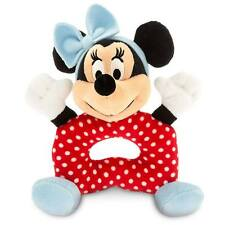 """Disney Store Red Minnie Mouse Polka Dot Plush Rattle for Baby Soft Toy 7"""" NEW"""