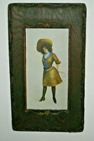 H M Pollock Print Cowgirl With Pistol & Whip Vintage 1904 Framed Signed dated